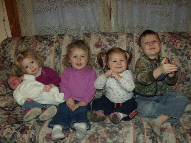 Blase, Kalli Jo, Maura, Anya and Cael......our grand-children.  Cute!