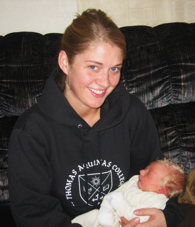 Aunt Mary and her new nephew.