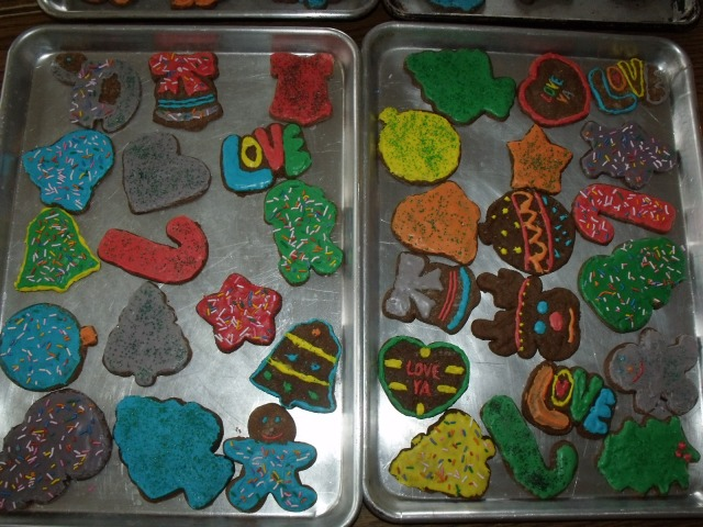 The kids baked ginger bread cut outs, a Christmas tradtion.