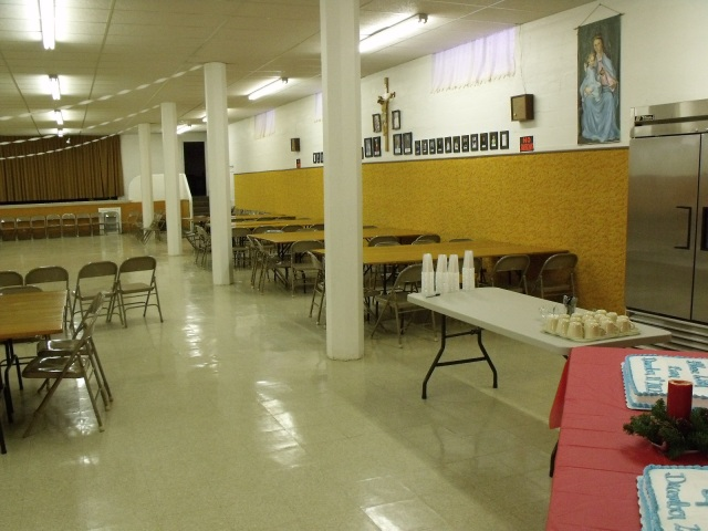 The St. Leo church basement before the party.