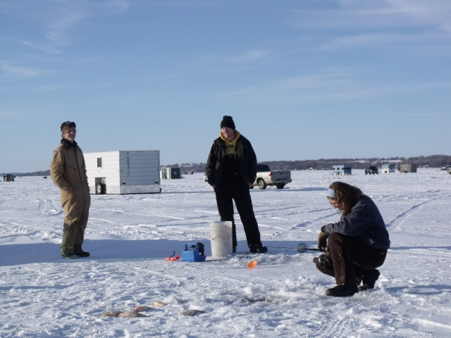 See the portable fish house that one of Don's friends pulled out onto the ice to spend the night in.
