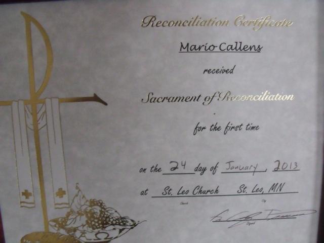 Mario's certificate!