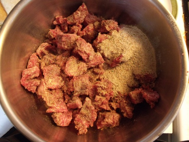 Venison, pork sausage mix soon to be meatballs.  A perfect blend.