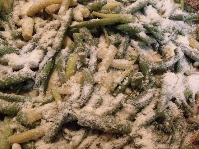 Green and yellow beans with garlic and parmesan!