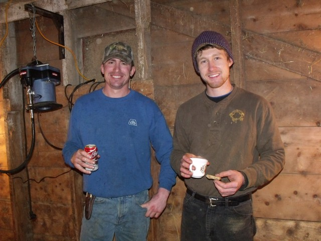 Clayton Calens and Luke Dougherty taking a break during the shearing of our sheep.