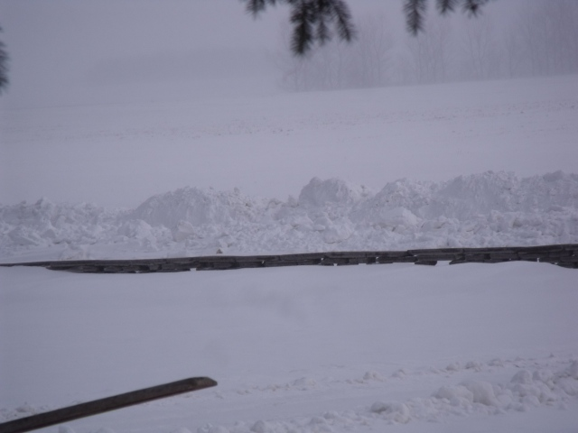 View looking East from our front porch with a bit of a ground blizzard going on.