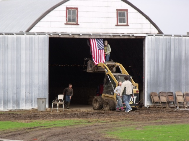 Decorating the barn for the dance.