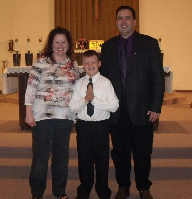 """Rhonda and Charlie Callens, godparents with Mario.  Better known as """"Uncle Tuna""""."""