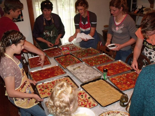 It was a mass effort to finish all of the pizza's.  The one that most of the guests seemed to like the best is the sauceless, Foccacia pizza.