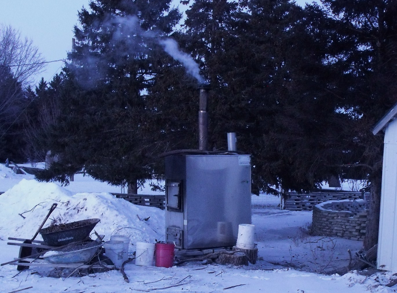 "If anyone has thought of purchasing an outdoor wood stove to heat your  home, we highly recommend these. Ours is a Hardy brand, all stainless  steel, ... - Horse Manure Heat And Hot Water"" CALLENS HONEY FARM"