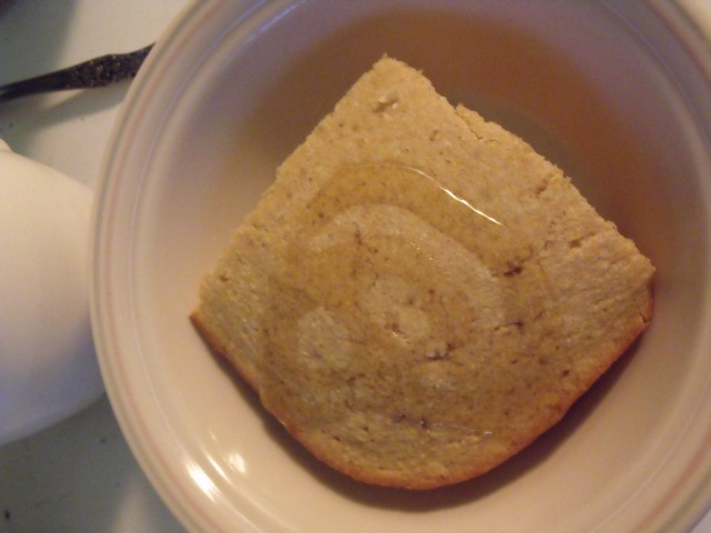 Honey corn bread for breakfast.  Also works great for lunches during lent. Served with our own milk!