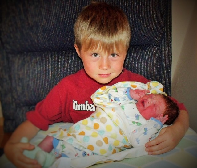 Cael is very happy to finally have a little brother!