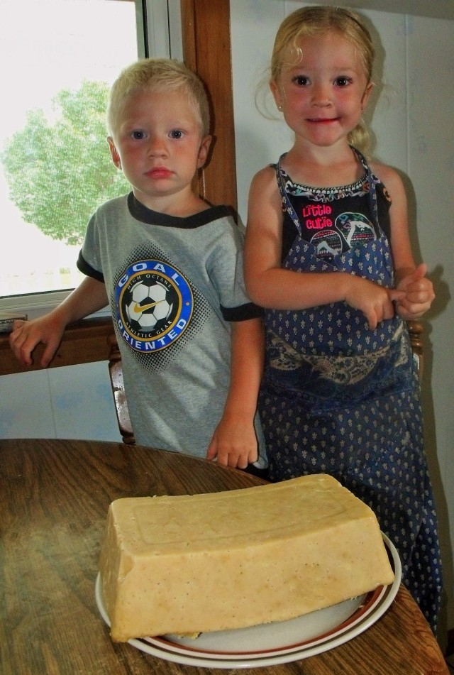 Blasé and Kallie Jo were around to help mess up my kitchen....and test the cheese out too!!