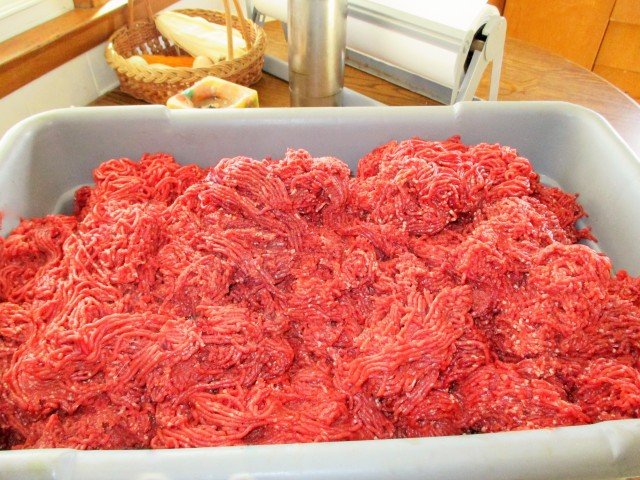 Fresh ground venison.
