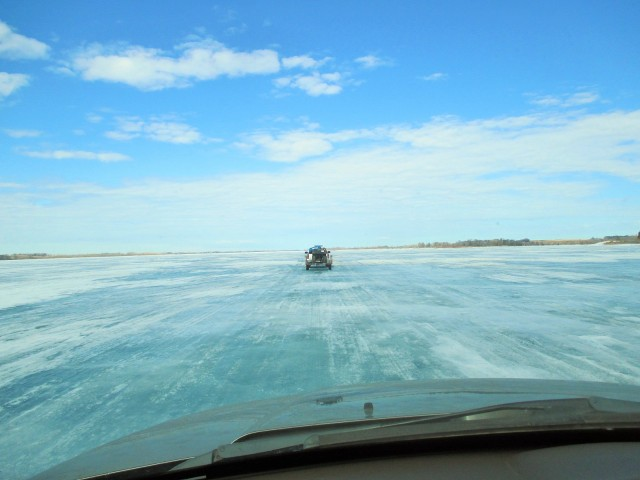 My view driving on the frozen lake.