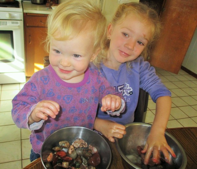 Josie June and Kallie Jo helping me shine up my rocks.