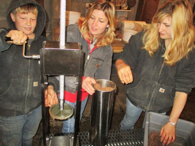 Mario, Silvana and Marisa with our new Sausage press. Works like a dream!