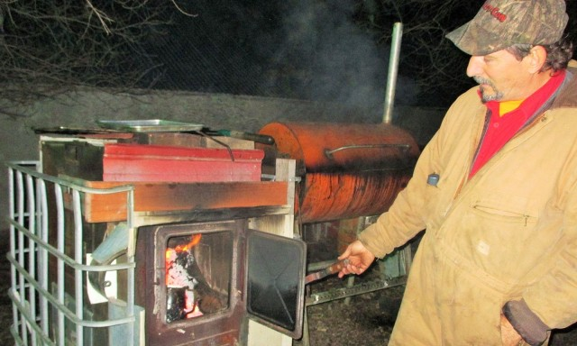Fred was smoking the bacon late into the night after a long busy day on the farm. To him it is fun!!