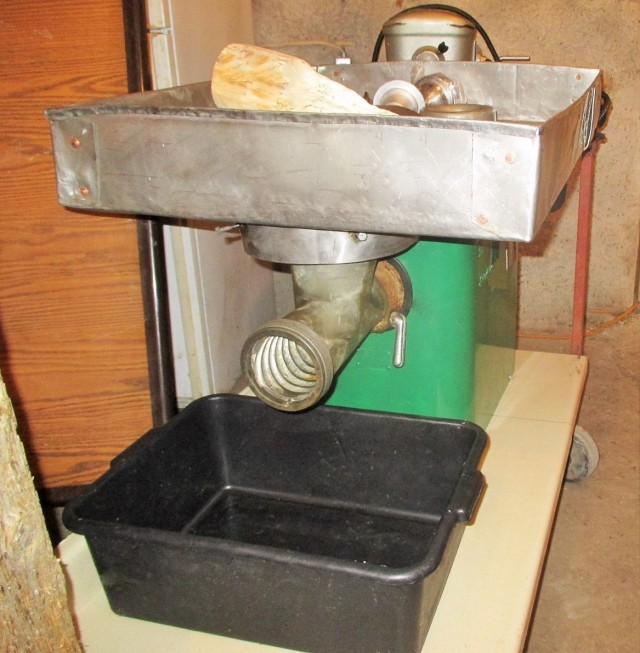 Front view of old military Sanitary meat grinder. This baby is one of a kind!!