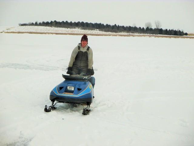 Caleb enjoying a Sunday on the frozen pond.