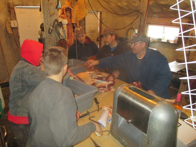 Alan Ferber teaches his eager students when we processed a cow recently. He's fun and amazing.