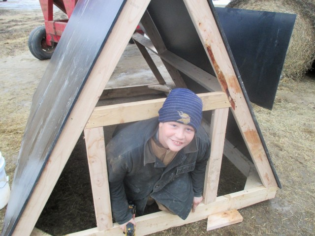 Mario and Fred built 16 A Frame farrowing huts in the cold! Brrrrr